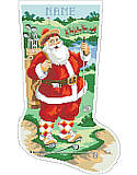 Golfing Santa Stocking - PDF: Fore! Santa is on the golf course and he's dressed in his best golf attire while his reindeer and sleigh wait patiently while he plays a few holes! Our most requested design for the active dad, this clever depiction will be a cherished heirloom.