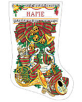 Deck the halls with a musical theme! This lush stocking features a cacophony of musical instruments including a Swan harp, a Mandolin and Brass Horns that are sure to delight any music lover!