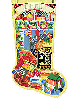 Enjoy the Christmas season as you stitch this wonderful Christmas stocking depicting hearth and home.