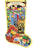 All Hearts Come Home Stocking - PDF: Enjoy the Christmas season as you stitch this wonderful Christmas stocking depicting hearth and home.