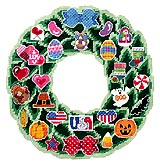 A circle of seasonal cheer for the making! A leafy Plastic Canvas garland wreath covered with holiday and seasonal motifs will welcome any friend to your home. Twenty-seven different interchangeable designs to mix and match as your mood swings. Patriotic, seasonal and bows in a variety of colors are included with enough canvas to stitch each motif. A host of wonderful ways to express a changing whim and display on your back door. A cheerful seasonal design.