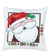 Holly Jolly Ambassador of Good Cheer! Santa is dressed to the nines in plaid suit, cute button nose and snow white beard. He lends a festive HO HO HO to the merriest of holiday seasons. This stamped Cross-stitch design is sure to be a winner!
