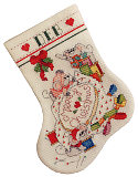 Cross Stitch Brigade Stocking: Our mice are stirring around putting finishing touches on their stocking.