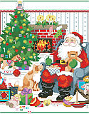 The Best of Christmas - PDF: It doesn't get better than this, sitting by the fire, enjoying milk and cookies after a long night delivering presents. Santa is surrounded by the best of Christmas in this wonderful design by Linda Gillum.