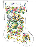 Gardener's Stocking - PDF: This stocking designed for the gardener in your life blooms with color and cheerful blossoms. Reward that green thumb with this gorgeous heirloom stocking that will be cherished for a lifetime.