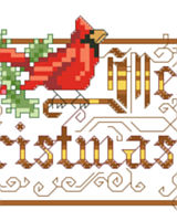 This charming Victorian design which depicts a cardinal and ornate lettering wishing all a Merry Christmas is a delight. This would look great as Big Stitch on 6 count fabric or adorning a lovely hand towel for holiday decor.