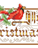 Merry Christmas Victorian - PDF: This charming Victorian design which depicts a cardinal and ornate lettering wishing all a Merry Christmas is a delight. This would look great as Big Stitch on 6 count fabric or adorning a lovely hand towel for holiday decor.