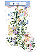 Such a sweet and unexpected Christmas stocking design. Pastels, snowflakes and three vintage style fairies flit about the lovely fir tree. A great heirloom piece for that perfect little girl.