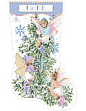 Fairies Christmas Stocking - PDF: Such a sweet and unexpected Christmas stocking design. Pastels, snowflakes and three vintage style fairies flit about the lovely fir tree. A great heirloom piece for that perfect little girl.
