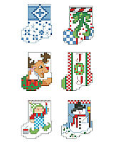 Each one of these tiny stockings is only 25 stitches tall. They will stitch up in a minute and look great adorning gifts or a tiny table top tree. 12 of the tiniest and cutest stockings to be found are by designer Linda Gillum.Marsha's Chart