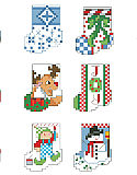 Littlest Stocking Ornaments - PDF: Each one of these tiny stockings is only 25 stitches tall. They will stitch up in a minute and look great adorning gifts or a tiny table top tree. 12 of the tiniest and cutest stockings to be found are by designer Linda Gillum.Marsha's Chart