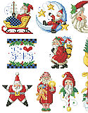 I Love Santa Ornaments - PDF: Old world Santas abound in this delightful collection of I Love Santa ornaments. 10 charming designs with motifs of stars, moons, sleighs and more will look great hanging from a traditional tree.