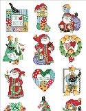 Country Folk Ornaments - PDF: 12 Country ornaments, each a tiny sampler in its own right, are gathered together into one charming collection. Santa feels right at home surrounded by blackbirds, checks and hearts galore. These delightful ornaments will enhance any country décor.