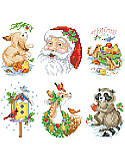 Santa and Animals Ornaments - PDF: Bring the joy of the forest into your home and onto your tree with these lovely wildlife creatures and Santa, himself, ornaments.