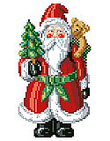 "Santa Big Stitch Pillow - PDF: This unique Santa Pillow in Big Stitch is QUICK & EASY counted Cross-Stitch is sure to brighten the ""Ho, Ho, Ho Season."""