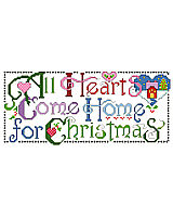 This heartfelt sentiment says it all about the holiday season. This design will look great as a stocking cuff or stitched up for someone special and wrapped under the tree. The graphic simplicity of the lettering and the bright colors make this an eye catching piece.