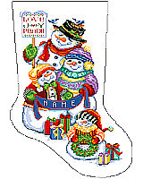 This precious Snow Folk family stocking design will delight anyone who loves to share in the festivities of the season.