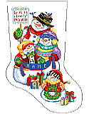 Snow Folks Stocking - PDF: This precious Snow Folk family stocking design will delight anyone who loves to share in the festivities of the season.