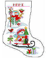 These dressed-for-warmth snowmen play with their birdie friends all winter long. This unique stocking is worked in Big Stitch and is sure to make the winter season a happy one.