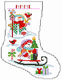 Snowmen Big Stitch Stocking - PDF: These dressed-for-warmth snowmen play with their birdie friends all winter long. This unique stocking is worked in Big Stitch and is sure to make the winter season a happy one.