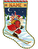 Skiing Santa Stocking - PDF: Santa is delivering toys to good boys and girls via a pair of skis and getting his exercise too!