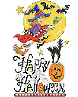 Happy Halloween says it all in this fun and funky vertical sampler by designer Linda Gillum.