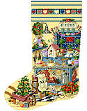 Gardener's Delight Heirloom Stocking - PDF: Happy memories in this heirloom stocking celebrating the charm of a garden shed trimmed with holiday cheer.