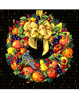 A fruitful wreath bursting with delicious color and flavor of wholesome foods to enrich our lives.