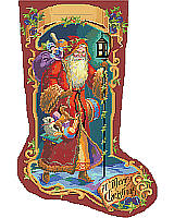 Old world Father Christmas carries toys as a glowing lantern lights his way. Deep jewel tones and a unique border motif make this a rich and vibrant nostalgic classic which will be a cherished heirloom.