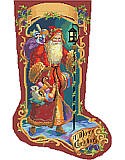 Father Christmas Stocking - PDF: Old world Father Christmas carries toys as a glowing lantern lights his way. Deep jewel tones and a unique border motif make this a rich and vibrant nostalgic classic which will be a cherished heirloom.
