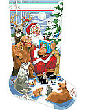 Woodland Storytime Stocking - PDF: Santa reads a story to his woodland friends as they sit in eager anticipation at his feet.