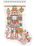 "Candy Nutcracker Stocking - PDF: You can almost hear ""The Dance of the Sugarplum Fairies"" when you gaze at this beautifully detailed Candy Nutcracker stocking."