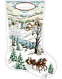 Winter Scene Stocking - PDF : They are reminiscent of Currier and Ives designs from long ago. This charming set will look beautiful on your mantle.