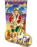 "Little Drummer Boy Stocking - PDF: ""I will play for Him"" said the Little Drummer Boy, as he played on his drum while the Wise Men in the background approach the scene of the little boy surrounded by sheep, a donkey and a calf."