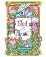 God is Love is written in the center of this stained glass style design.