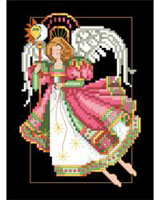Stitched on dramatic black fabric, this angel soars prominently in the heavens declaring nights and days with her staff and orb. It's a striking design that will bring color into your décor.