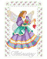 Everyone needs a Fairy in their life. This one is just right for February birthdays because she's wearing the color of the birthstone, purple Amethyst, holding a heart and has flowers in her hand. A lovely design for anyone born in February. One in a series of twelve faeries.