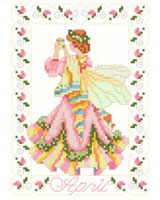 April Birthdays are depicted with pastels reminiscent of Easter decorations. She is surrounded by garlands of Sweet Peas. One in a series of twelve faeries.