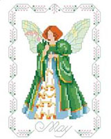 Emeralds are the birthstone for May and our fairy sparkles like an emerald. She's surrounded by Lilies of the Valley which are the flower of May. One in a series of twelve faeries.