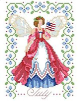 July's Fairy is patriotic while holding her Red, White, and Blue flag. She is surrounded by Larkspur flowers which enhance the colorful dress she wears. One in a series of twelve faeries.