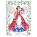 Birthday Faeries July - PDF: July's Fairy is patriotic while holding her Red, White, and Blue flag. She is surrounded by Larkspur flowers which enhance the colorful dress she wears. One in a series of twelve faeries.