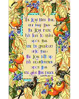Grace your home with this delightful blessing prayer accented with fruits and birds and framed with autumn leaves.