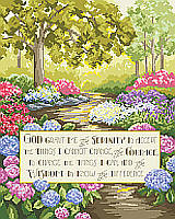 Add a little serenity to your home with this heartfelt verse stitched with a colorful forest background.