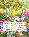 Serenity Prayer - PDF: Add a little serenity to your home with this heartfelt verse stitched with a colorful forest background.