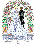To Love, Honor and Cherish - PDF: Relive the day of new beginnings with this elegant marriage design from your wedding or anniversary celebration. The happy couple walks through a floral filled arch, with formal topiaries standing watch.
