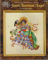 The design in this leaflet, South American Angel, features Barbara's keen sense of colors and elegance of style and line as she captures the feeling of a festive young woman in her traditional attire.