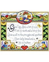 "Bring sunshine and the warmth of country into your home with this Counted Cross Stitch sampler. The verse, ""Give us Lord, a bit o' sun, a bit o' work, and a bit o' fun, Give us all in the struggle and the sputter, our daily bread and a bit o' butter."""