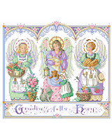 Three angels are the centerpiece of this beautiful design by Sandy Orton.