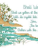 Written in 1864 by poet Robert Lowry, Shall We Gather at the River depicts the paradise that awaits Gods followers as described in Revelation. This long and lovely design subtly depicts the river of life, with cool greens and blues reflected in the still waters.