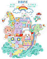 Welcome baby with this cheerful and lively ark full of patchwork and patterned animals. This design is super cute with an adorable array of giraffe, hippo, dolphin and more delightful animals. Up-to-date baby colors will look great in the new nursery.